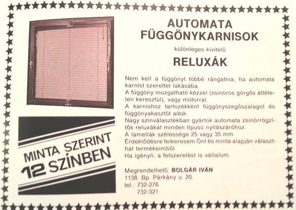 reluxa hirdetés a '80-as évekből