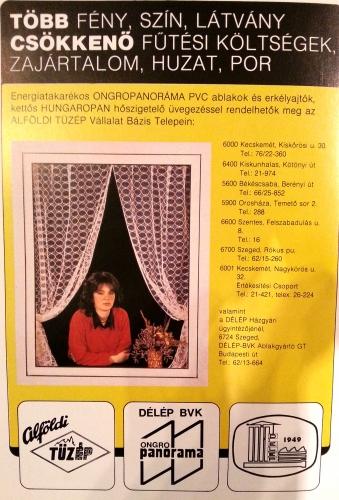 műanyag nyílászáró hirdetés a '80-as évekből
